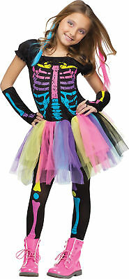 Funky Punky Bones Child Girls Costume Colorful Skeleton Fancy Dress Funworld