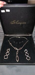 14k necklace 10k earrings white gold marked