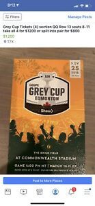 Grey Cup Tickets (4 in total)