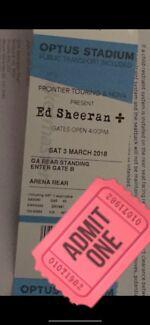 1x Ed Sheeran ticket Perth Sat 3rd March 2018