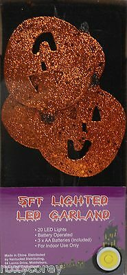 Halloween 5 ft Lighted Pumpkin LED Garland 20 LED lights Battery Operated NIB