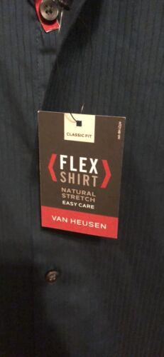 Van Heusen Dark Green And Black Pinstripe Easy Care Shirt. Mens S. Orig 60 - $25.00