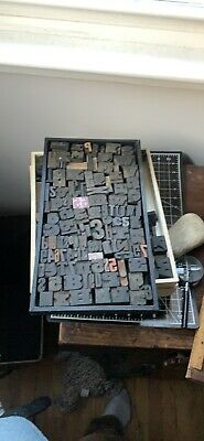 Tray Of Antique Vtg Wood Letterpress Print Type Block Alphabet Letters Numbers