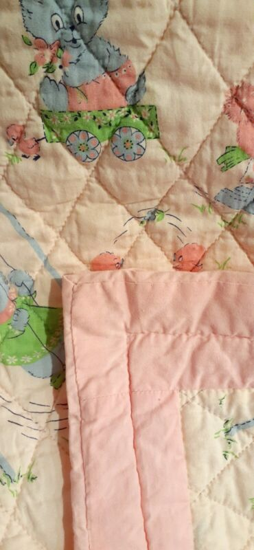 """1960s Vtg. Handmade Baby Quilt *Darling Pink/Blue Bunnies Hand Quilted 39"""" x 55"""""""