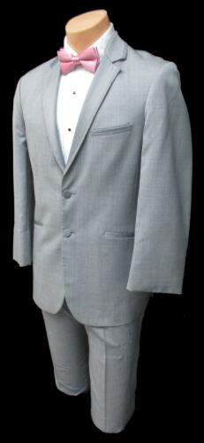 "Boys Size 6 Grey Jean Yves Tuxedo Jacket with Pants Wedding Ringbearer 22"" Waist"