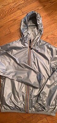 K-Way Rain Jacket Grey Metallic - Kids Size 12 Years