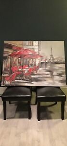 Oil on Canvas Painting - Paris cafe