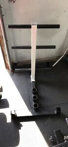 Olympic weight plate rack with 3 barbell holder