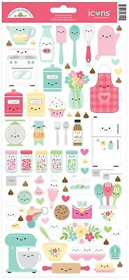 Crafts Doodlebug Icon Stickers Made with Love Baking Food Faces Sprinkles Mixer