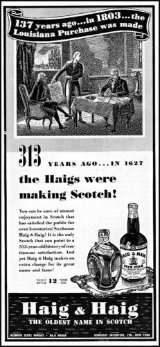 1940 Louisiana purchase 1803 Haig & Haig scotch vintage art print ad ads54