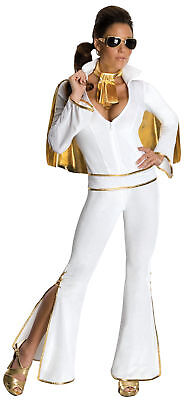 Elvis Adults Womens King Of Rock Female Sexy Jumpsuit Costume Fancy Dress - Female Elvis Costumes