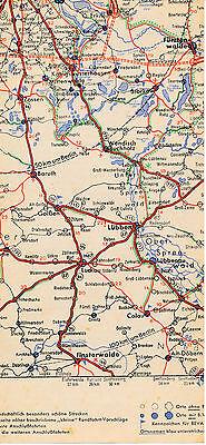 Fürstenwalde Erkner Lübben Zossen 1937 kl. orig. Teil-Autokarte *Reichsautobahn