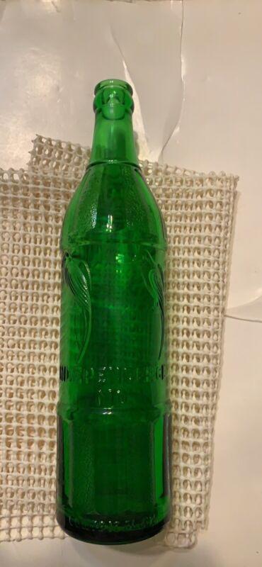 Vintage green 18 oz Polly pop soda bottle 4 parrots embossed