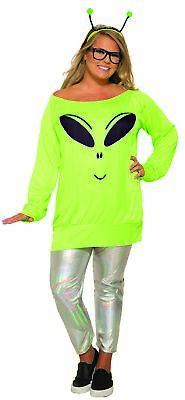 Spaced Out Alien Casual Adult Women's Plus Size 18-22 Costume Cosmic Green UFO - Alien Costumes For Women