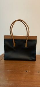 Tolblanc Paris, genuine leather, Black and tan handbag.