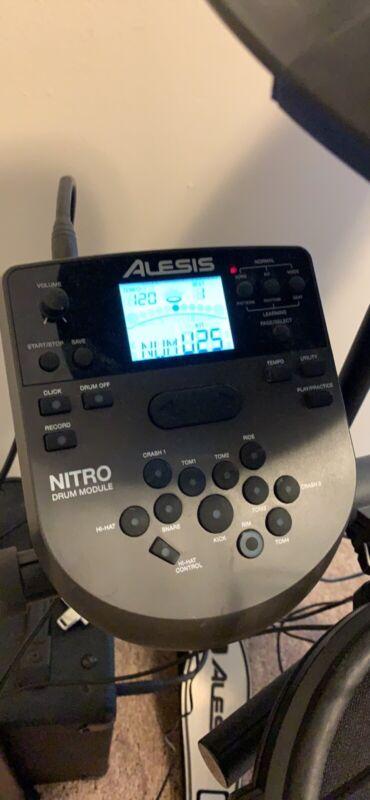 Alesis 8 Pcs Nitro Electronic Drum Set with Kick Pedal. All black with chrome