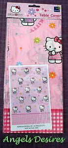 HELLO KITTY PINK Vinyl TABLECLOTH - Party Table Cover Wipe Clean
