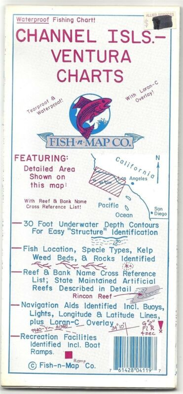 Fish-n-Map Co. CHANNEL ISLANDS VENTURA CHARTS California - Waterproof Plastic