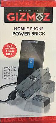 Gizmoz Mobile Phone Power Brick Charger With 2200 MAH Portable backup power.GRAY Portable Mobile Charger Backup