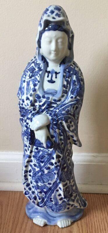 Vintage Japanese Porcelain Guanyin Kannon Sama Statue Hand Painted Blue Sometsuk