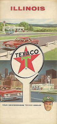 1964 Texaco Oil Road Map Illinois Route 66 Springfield Decatur Rockford Peoria