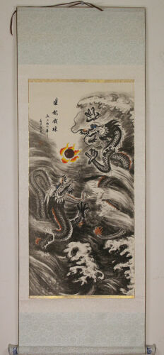 Vintage Traditional Chinese Wall Scroll Flying Dragons