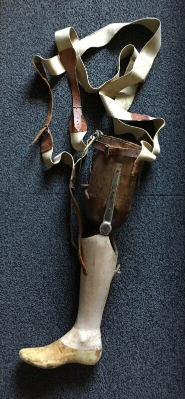 Antique Wooden Prosthetic Leg - Hinged, Tooled Leather form, Suspender Supported