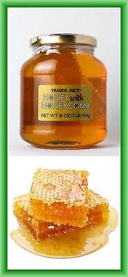TRADER JOE'S HONEY WITH HONEYCOMB NET WT. 16 OZ (1LB) 454G