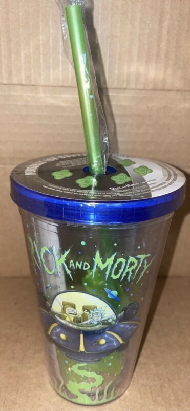 Rick And Morty 14Oz Travel Tumbler Acrylic cup with reusable ice cubes New