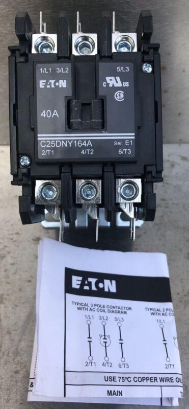 Genuine EATON C25DNY164A 3-Pole 40A 120V coil Definite Purpose Contactor Relay