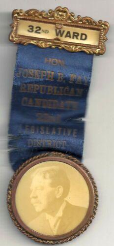 1911 Philadelphia County JOSEPH B. FAY Badge & Ribbon ~ 32nd Ward 22nd District