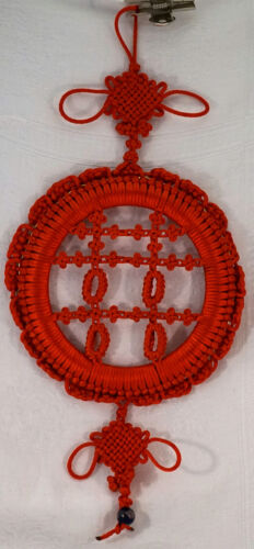 Chinese Red Satin Hand Knotted Wall Hanging