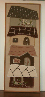 """Houses Embroidery Applique Finished Framed Picture 13.5"""" x 34""""  for sale  Shipping to India"""
