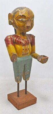 Antique Wooden Goddess Gangaur Figurine Original Old Hand Carved Painted