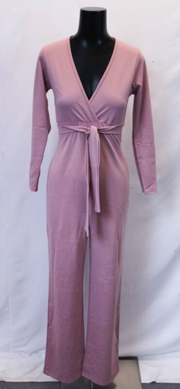 Boohoo Women Maternity Katie Tie Front Plunge Jumpsuit LL1 Desert Rose US:4 UK:8