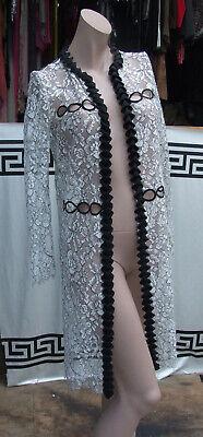 Huishan ZHang Absolutely Stunning Cream Lace Coat Long Wrap Jacket Black Trim 6