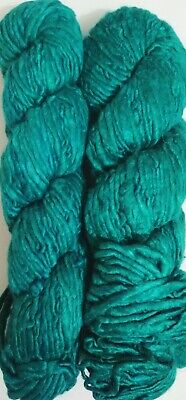 100 Grams Himalaya Recycled Teal Soft Sari Silk Yarn Knit Woven 1 Skein