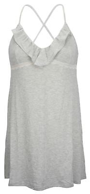 Ex Store Soft Modal Jersey Chemise with Lace Trim Grey ()