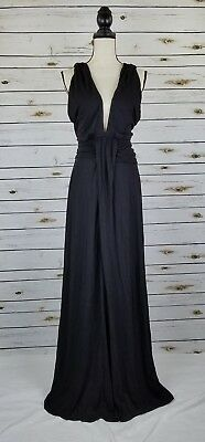 Venus Maxi Dress Size Xl Womens Black Jersey Knit Sleeveless Draping