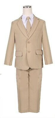 Boys slim fit suit khaki formal wedding Christmas Holiday set long tie vest pant