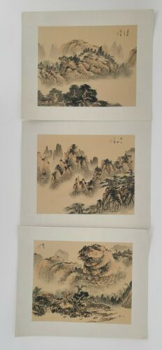 Vintage Chinese Watercolor on Silk Paintings of Shanghai Mountains Set of 3