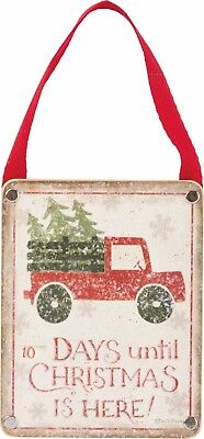 Wood Hang Up Countdown Calendar Days Until Christmas Is Here Farmhouse Red Truck - Countdown Calendar Days