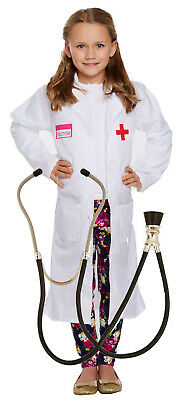 Girls Kids Childrens Doctors White Coat Fancy Dress Costume Outfit Stethoscope