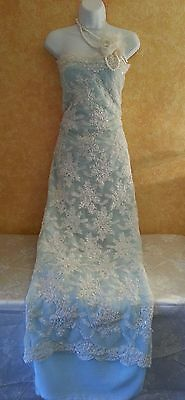 Vintage Glam Style Ivory Beaded Lace & Blue Sheath Wedding Bridal Gown Maxi