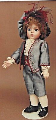 """12-14""""ANTIQUE FRENCH BOY DOLL SUIT/JACKET PANTS SHIRT VEST HAT PATTERN GERMAN"""