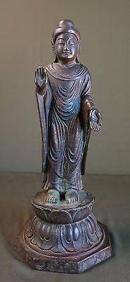 Very Rare XLarge Korean Joseon Dynasty Bronze Buddha Statue Lotus 8 Sided Stand