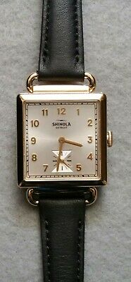 Shinola Ladies Cass 28mm With Silver Dial Gold Case / Black Strap - New