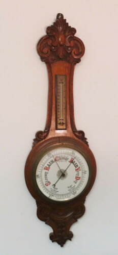 "ANTIQUE SHORT & MASON, LONDON HAND CARVED OAK ANEROID BAROMETER  36"" long"