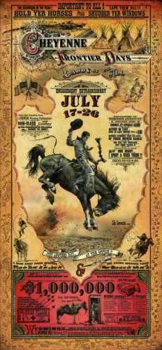WYOMING Cheyenne Frontier Days Rodeo poster Bob Coronato vintage cowboy signed
