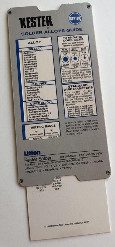 Vintage KESTER Solder Alloys Guide Flux Slector Slide Rule Pocket Card Chart USA